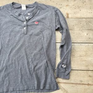 PINK Gray Watermelon Henley